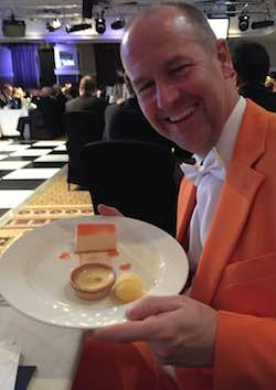 David Gilroy and his pudding at the Manchester Legal Awards - March 2015